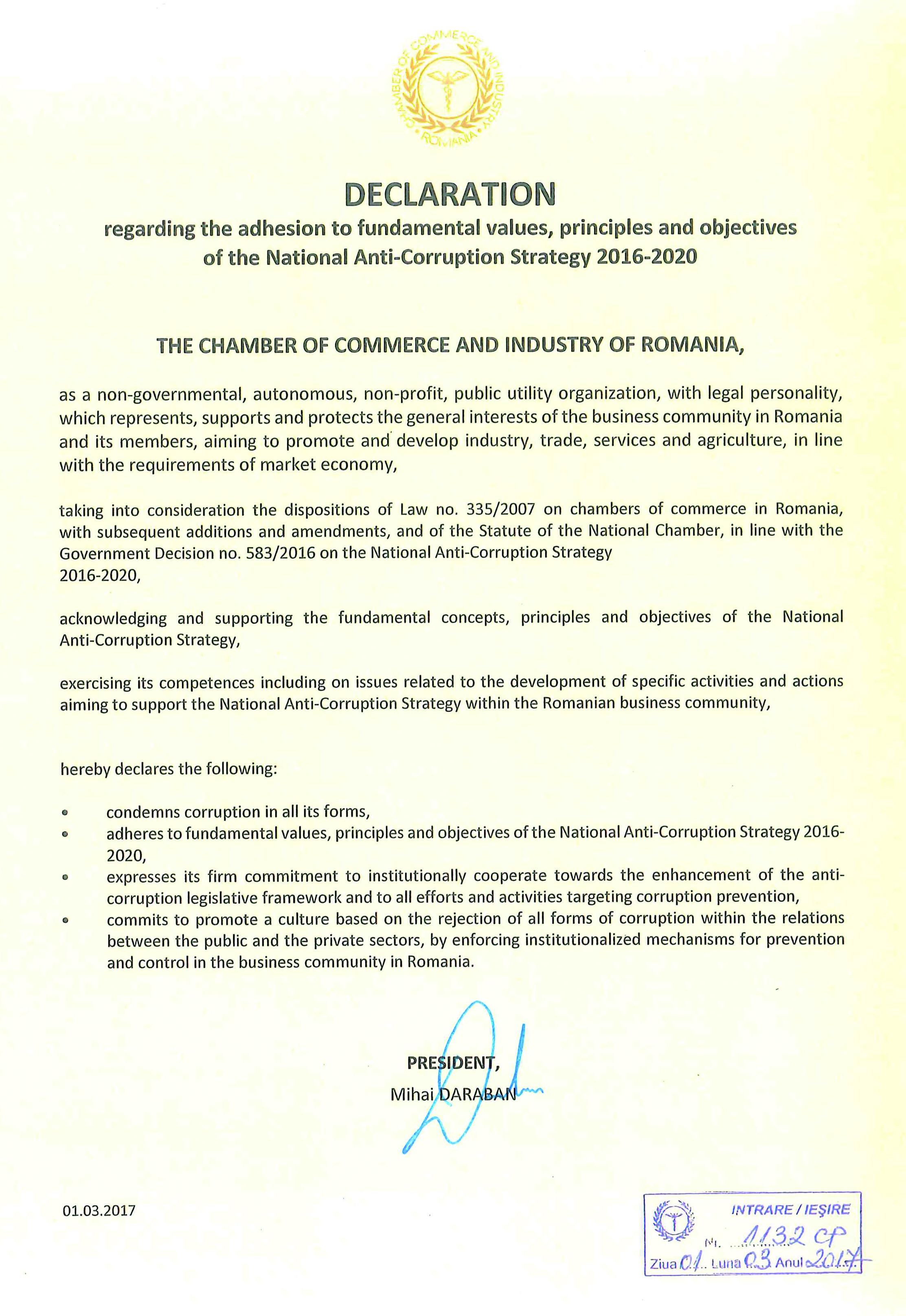 Declaratie de integritate SNA